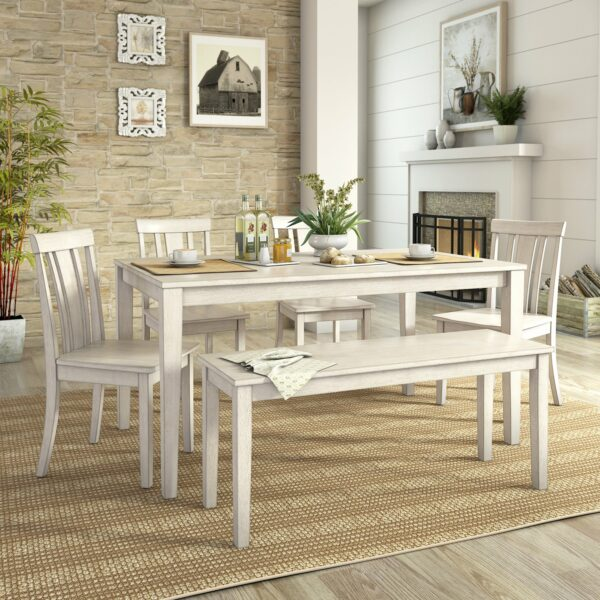 Satu Set Meja Makan Bench 4 Kursi
